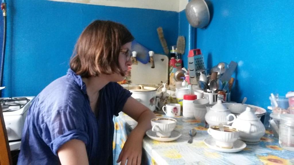 Kaśka w kuchni Ani w Kaliningradzie
